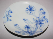 flower-patterned oval plate(E-4)