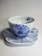 cup and saucer with flower pattern(J-1)