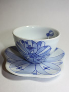cup and saucer with flower pattern(J-2)