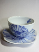 cup and saucer with flower pattern(J-3)