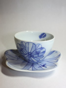 cup and saucer with flower pattern(J-4)