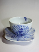 cup and saucer with flower pattern(J-5)