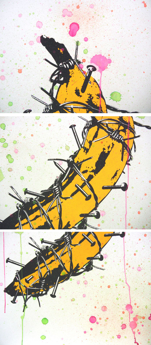 Spiked banana(screenprint×watercolor) ED:1/1 ♯3